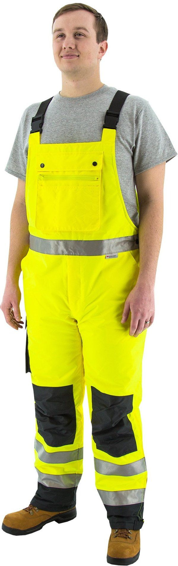 majestic 75 2357 high visibility yellow black quilted on insulated overalls id=81586