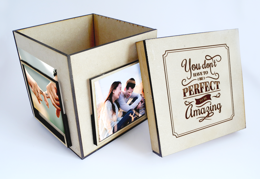Caja elaborada con MDF, para colocar fotos a modo de porta retratos. Corte y grabado láser