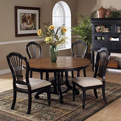 Hillsdale Wilshire 7 Piece Round Dining Table Set In Pine And New 7 Piece Round Dining Room Set Decorating Design