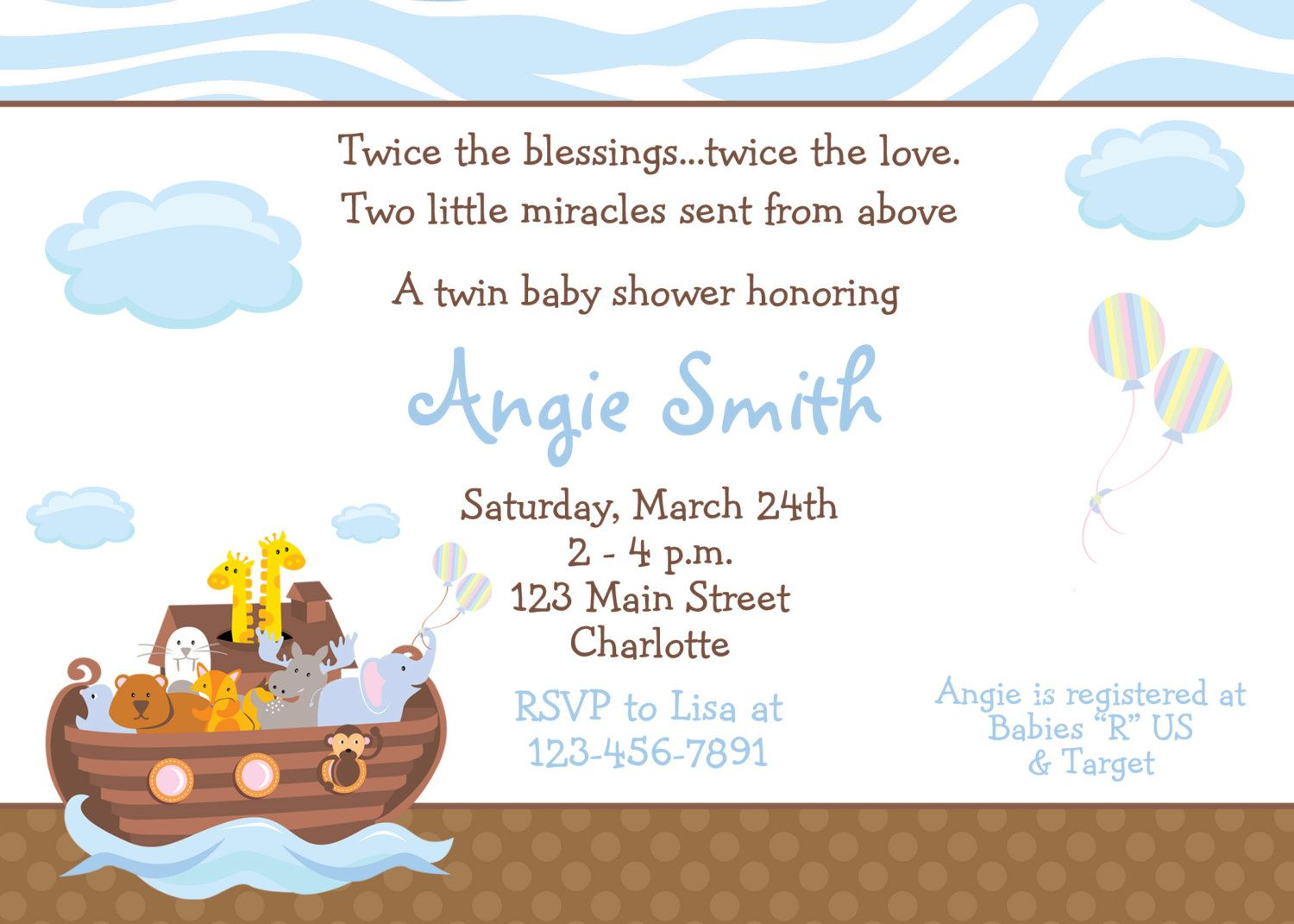 Noah's Ark Baby shower invitation -twins baby shower invitation -- you  print or I print. $10.00, via Etsy.
