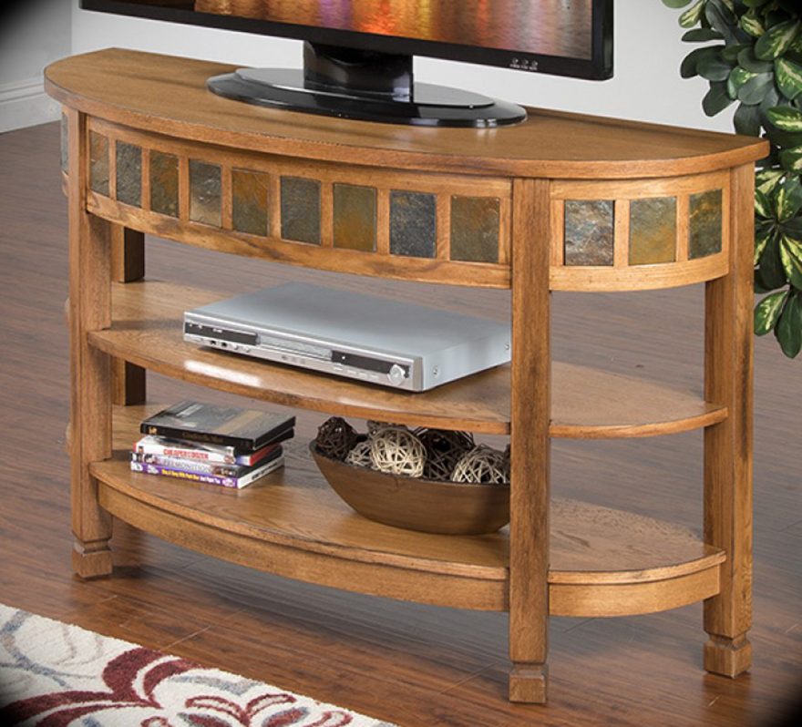 Curved Sofa Console Table Sedona Rustic Oak Width: 48 ...