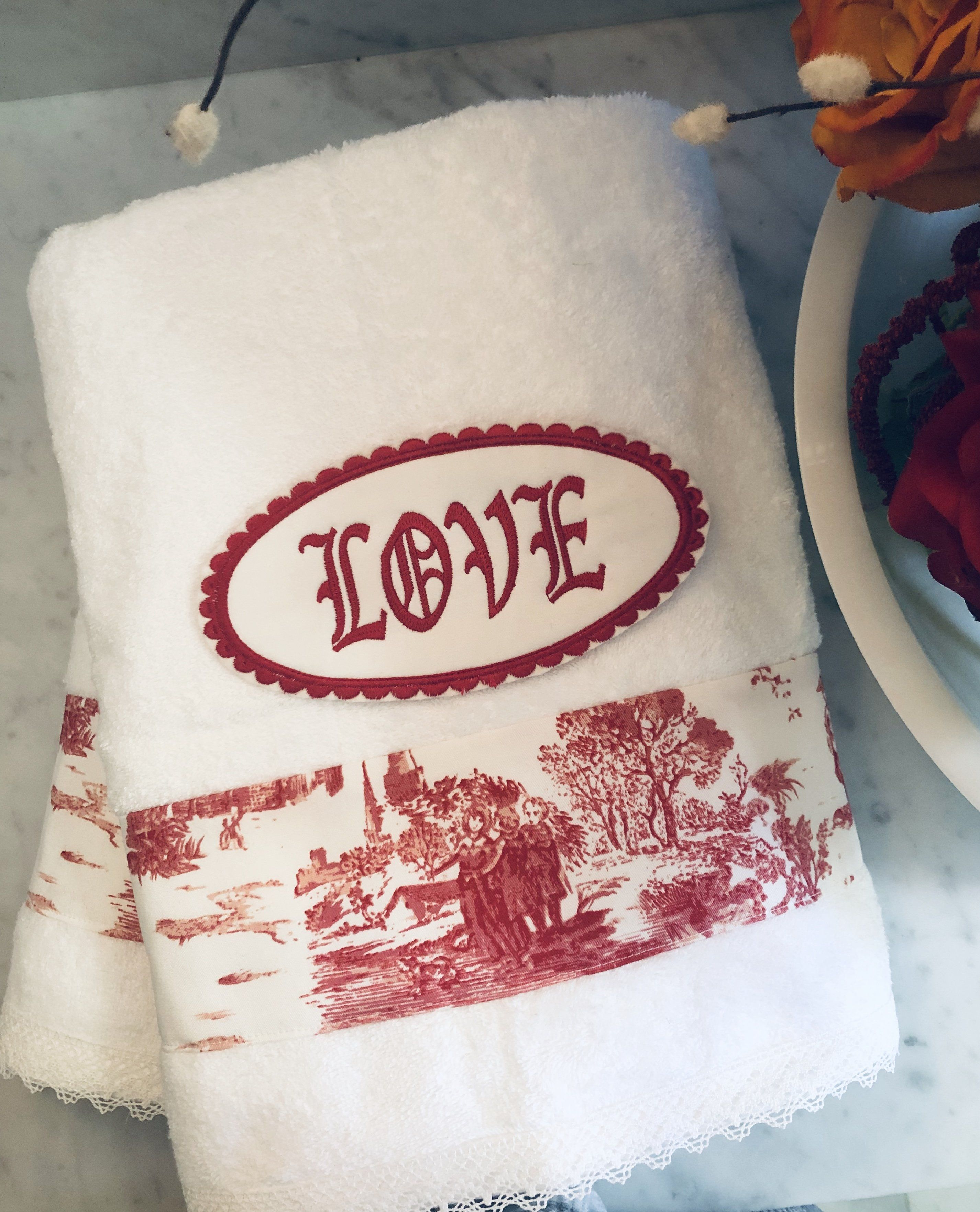 Pick Your Thread White Monogrammed Custom Embroidered CTR Bath Towel