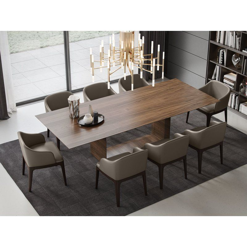 A U Shaped Base Built By The Same Ultra Thin Walnut Frame As The Tabletop Gives The Greenwich Luxury Dining Tables Modern Dining Room Dining Room Design Modern
