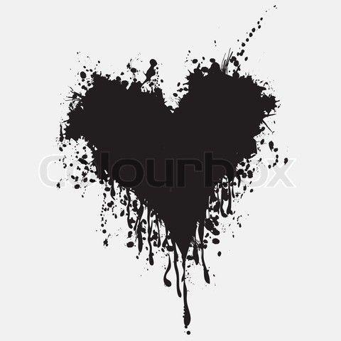 Vector Of Graphic Grunge Heart Ink Splatter Vector Paint Splat Love Splash Splatter Illustration Drip Black Heart Tattoos Ink Splatter Dripping Paint Art
