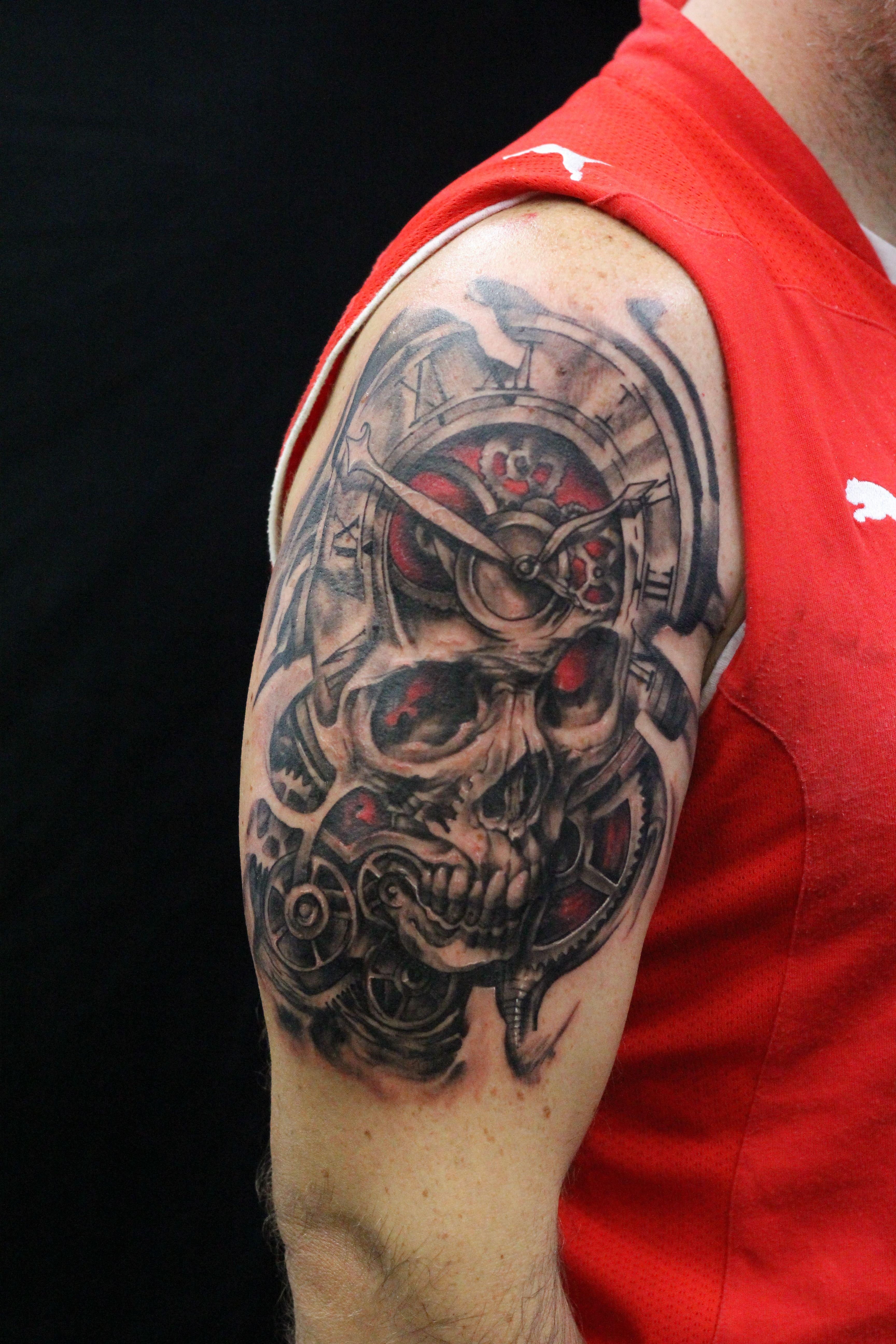 Tattoo Realistic Tattoo Skull Black And Grey Red Arm Tattoo