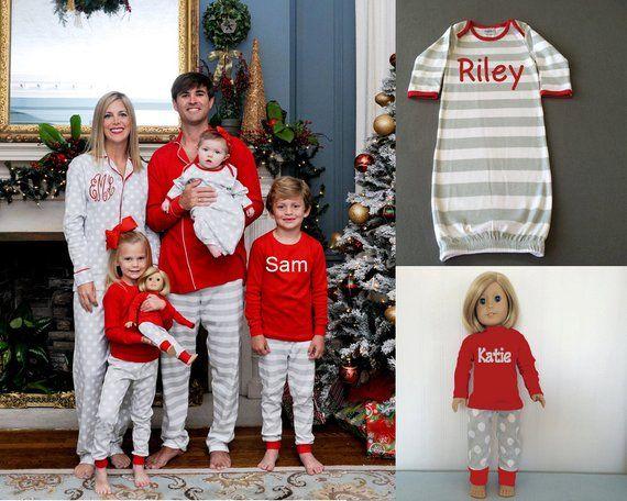Personalized Christmas Pajamas Kids.Christmas Pajamas Monogrammed Christmas Pjs Personalized