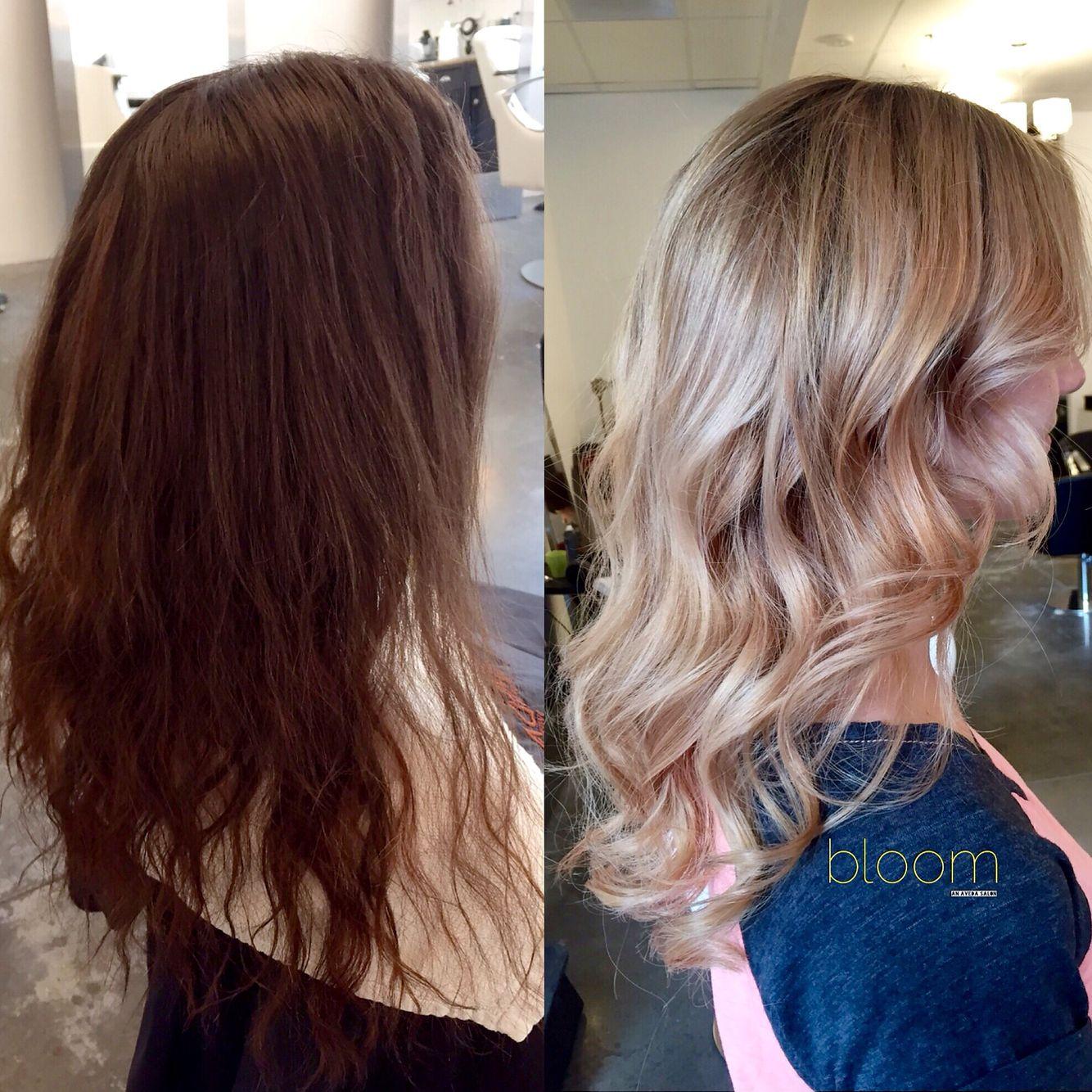 Dark Brown To Blonde In One Visit Using Balayage And Olaplex By Bloom Stylist Samantha Bleach Brown Hair Brown Blonde Hair Hair Makeover
