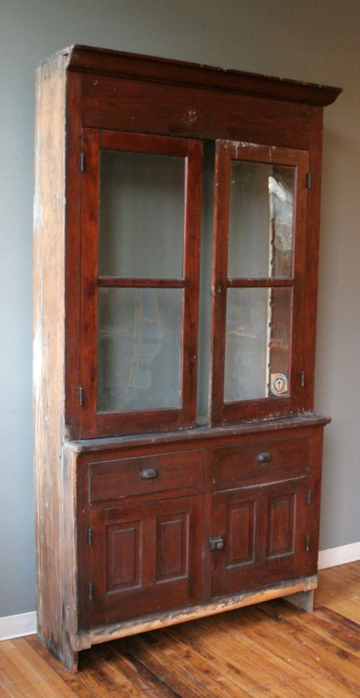 Best Antique Farm Stepback Built In Cupboard Kitchen Cabinet 400 x 300