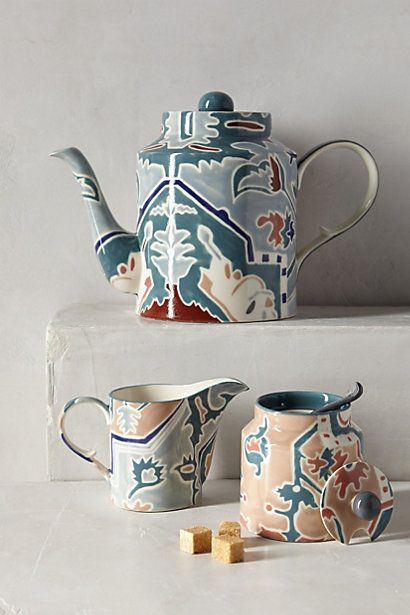 Botanical Musings Tea Set Anthropologie All Of The Above Below Beside Etc Cute Idea For Paint Your Own Pottery Tea Set Pottery Pottery Sculpture