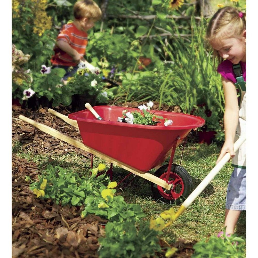 Kid S Garden Wheelbarrow With Wood Handles Steel Braces And Solid Tire Hearthsong With Images Childrens Gardening Gardening For Kids Garden Tools