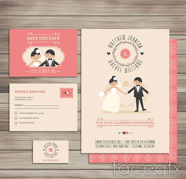 Free Download Interesting Wedding Card Vector. Free Vector Includes Wood  Grain, Groom, Bride, Wedding, Invitation, Invitations, Cards, Vector  Graphics, ...