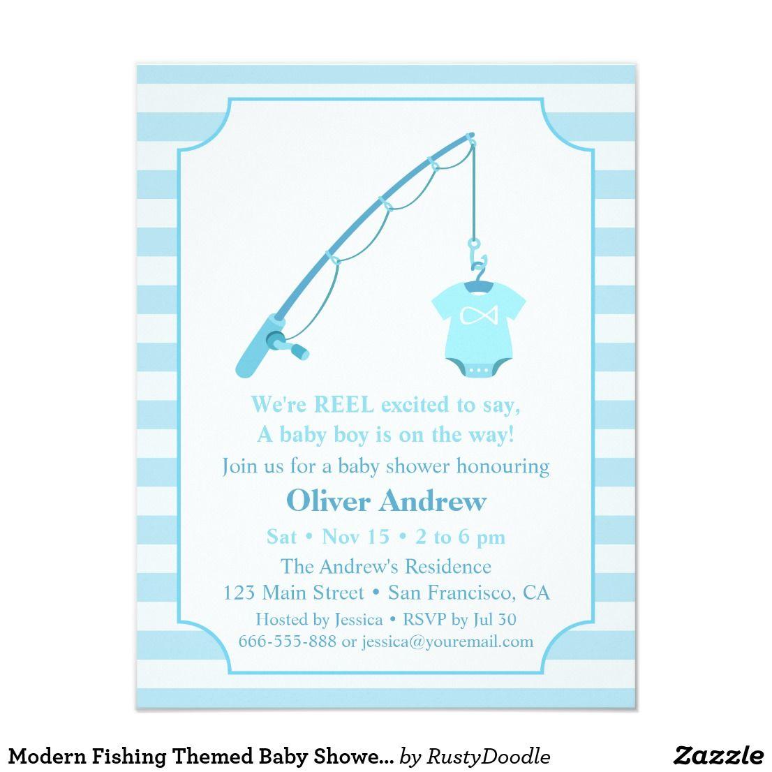 Modern Fishing Themed Baby Shower Invitations | Shower invitations