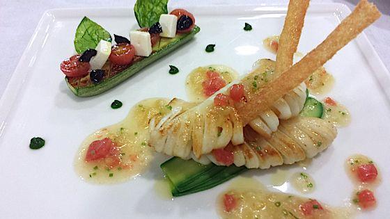 Recette de chef les fr res pourcel calamars grill s la plancha tendres courgettes l 39 ital - Recette calamar grille barbecue ...
