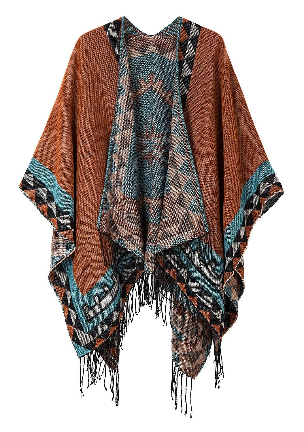 Women's Printed Tassel Open front Poncho Cape Card