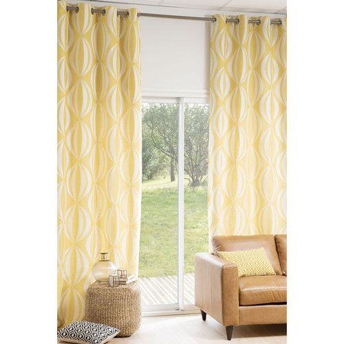 Ösenvorhang , 140 x 300 cm, gelb/weiß | Gelb, Wohnzimmer und ...