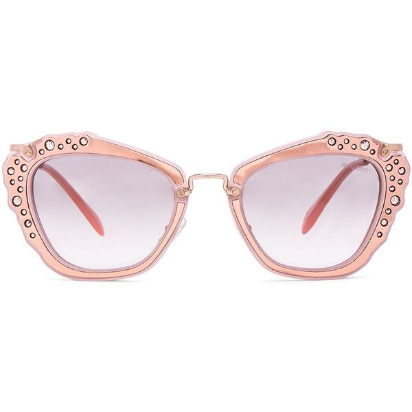 cc6c2eb356 Miu Miu Embellished Cat Eye Sunglasses ( 520) ❤ liked on Polyvore featuring  accessories