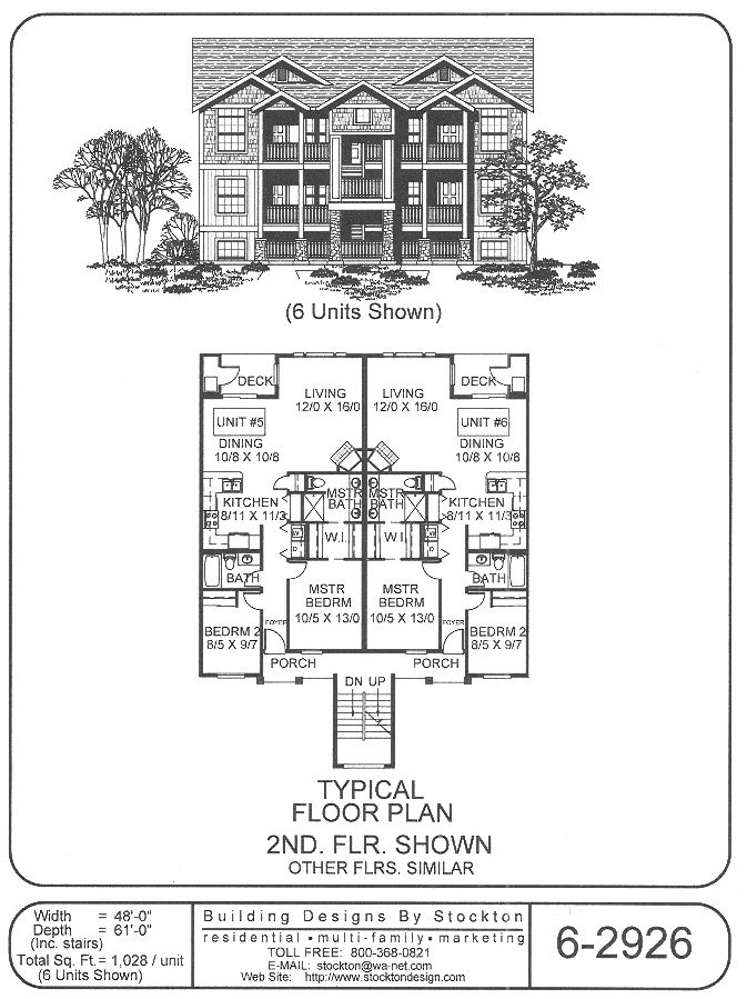 6 plex 48x61 good floor plan could do small house for 6 plex floor plans