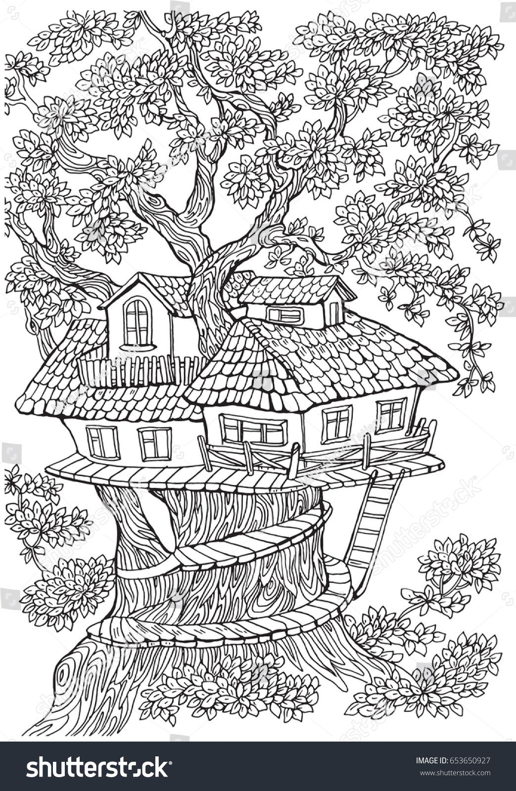coloring pages for kids and adults .Tree house | coloring pages ...