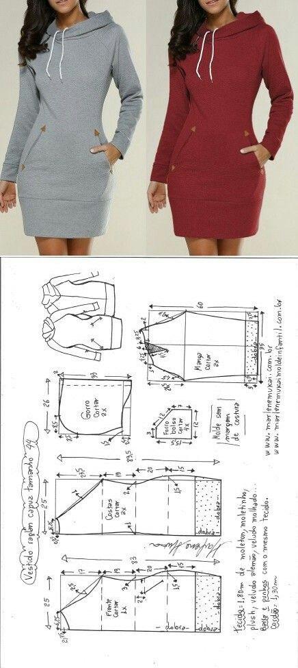 Vestido manga raglan e capuz | Costura, Molde y Patrones