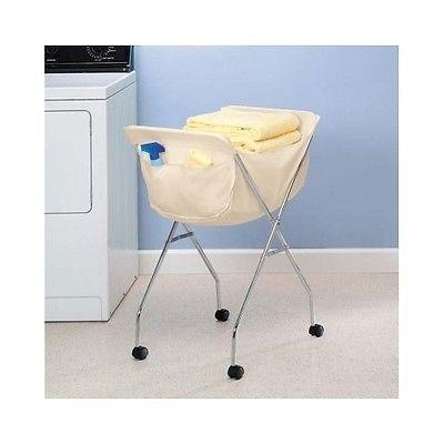 Rolling Laundry Cart Portable Clothing Basket White Liner Wheeled