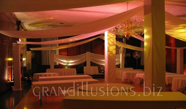 theater lighting and square columns fabric draping wedding ...