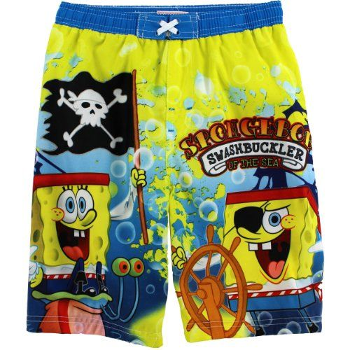 Zhangyi Boys Spongebob Squarepants Funny Summer Surfing Shorts Quick Dry Swim Trunks