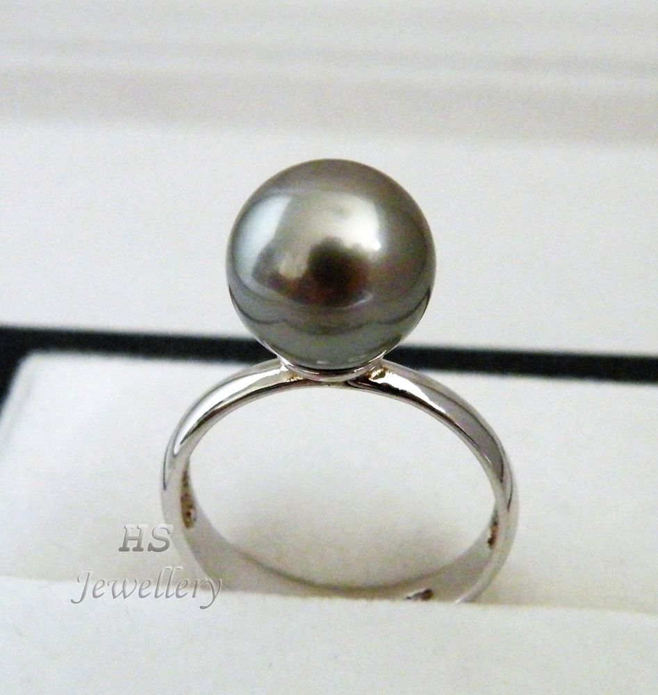 HS #Tahitian South Sea Cultured #Pearl 10.67mm 925 Sterling Silver #Ring Top Grade #Jewelry #Christmas #BlackPearl