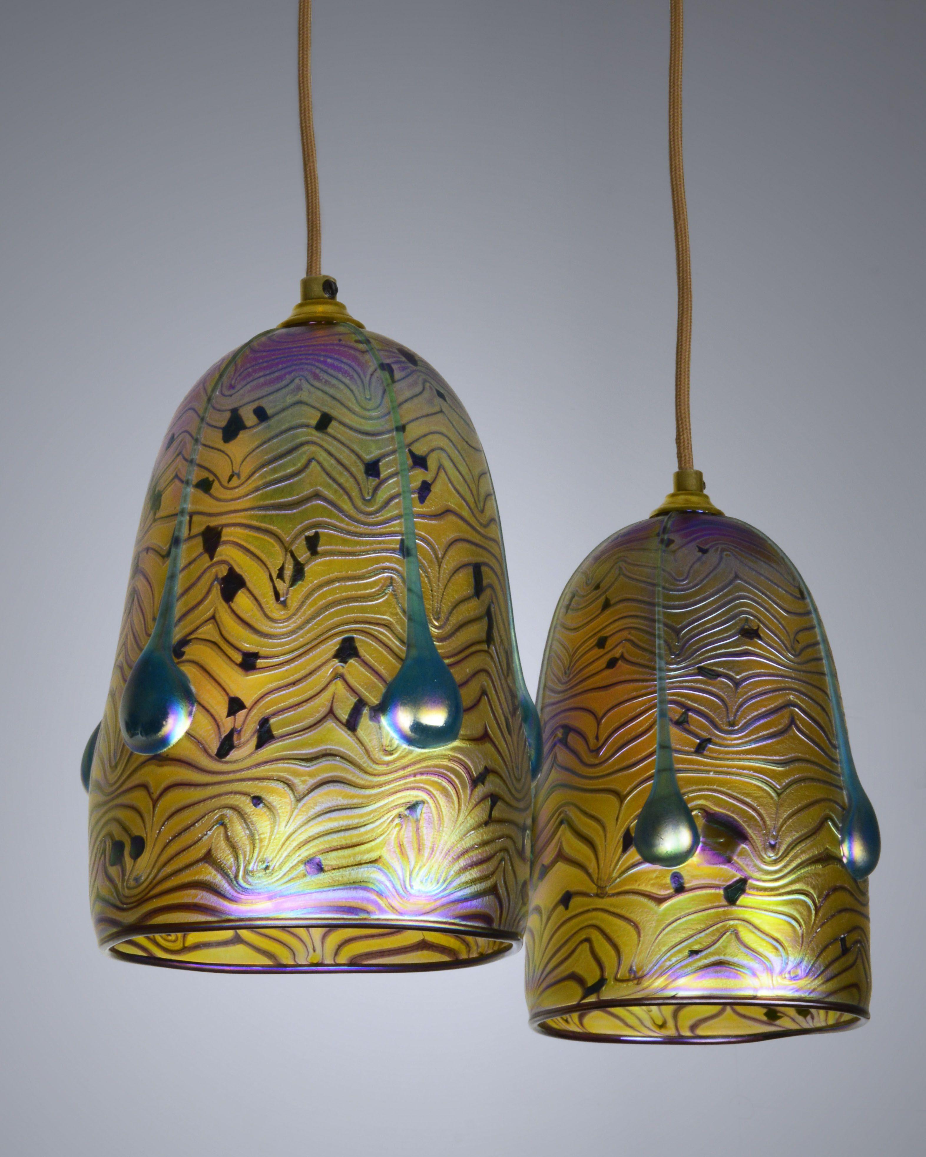 Hand Blown Iridescent Glass Pendant Lighting Art Nouveau Hanging Lamp Hand Blown Glass Gorgeous Glass Hand Blown