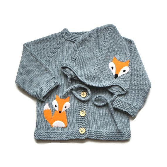 Fox baby set gray baby jacket and hat with fox knitted baby sweater and bonnet Available other color combination on request soft wool mix (50% wool 50% acrylic) Every item from Tutto is HAND knit