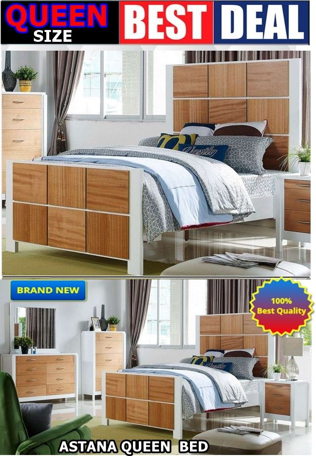 Astana queen size solid timber + veneer bed frame white