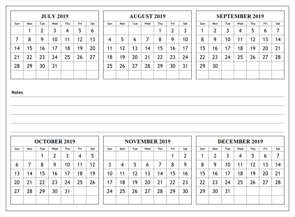July Through December 2019 Calendar Printable 2019 july to december calendar | 2019 Calendars | December