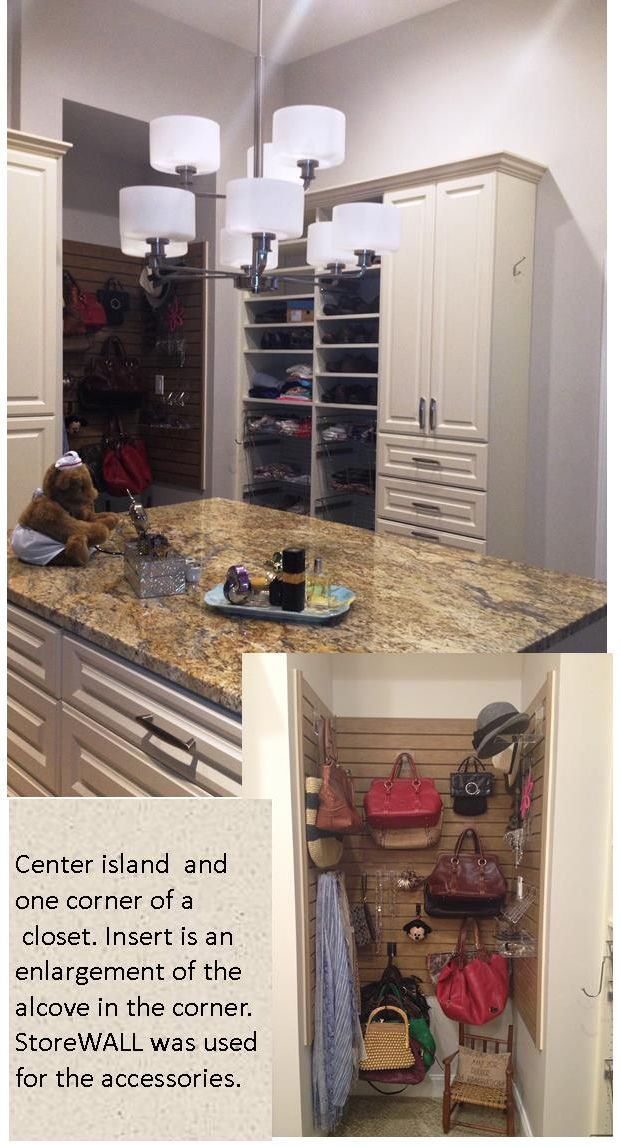 Center Island Of Closet With Shoe Storage Closed Shelving And Small Alcove In Corner Of Closet Insert Is The Inter Custom Wall Unit Home Trends Closet Design