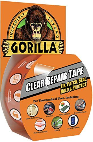 Gorilla Clear Repair Duct Tape Adhesive Weatherproof Water Resistant 9yd Clear