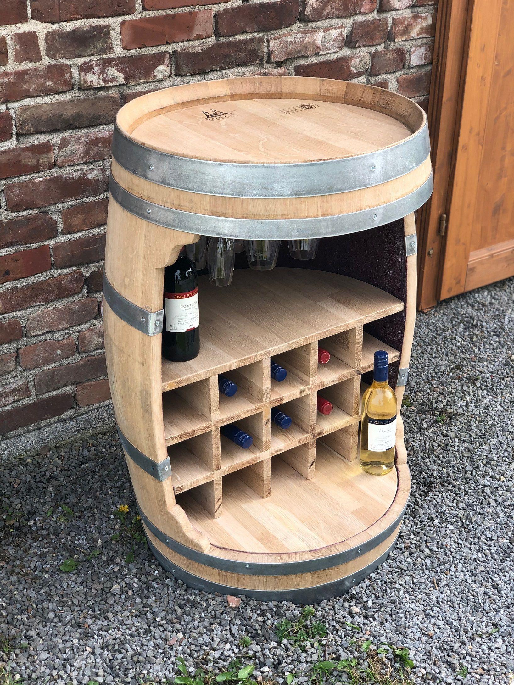 Weinfass Bar Mit Flaschenhalter Und Einlegeboden 225l Weinfass Weinfass Bar Flaschenhalter Weinfass