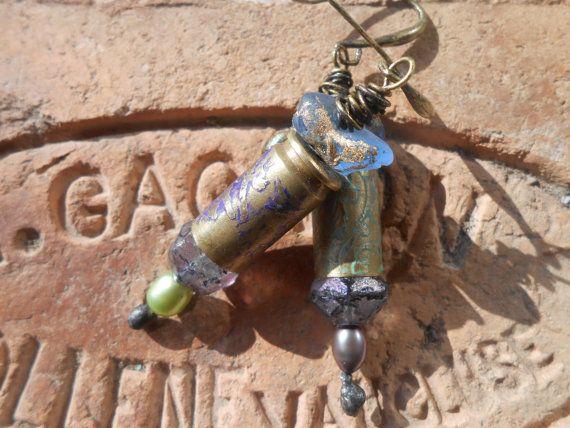 Boho bullet earrings etched metal feminine bohemian by RosinTrails