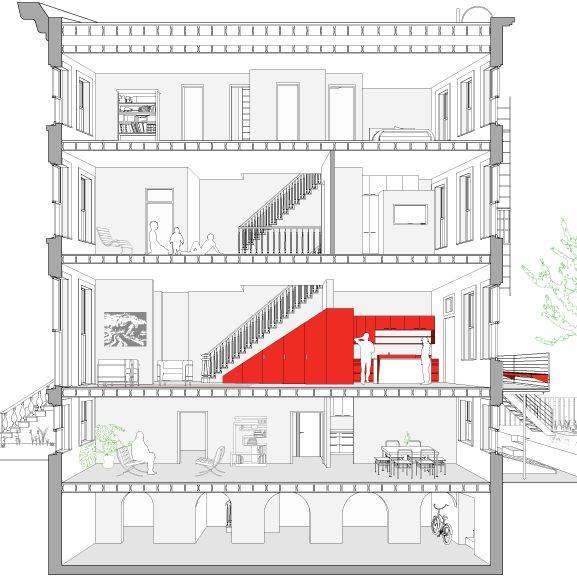 Renovate and conversion of existing brooklyn brownstone for Brownstone house plans