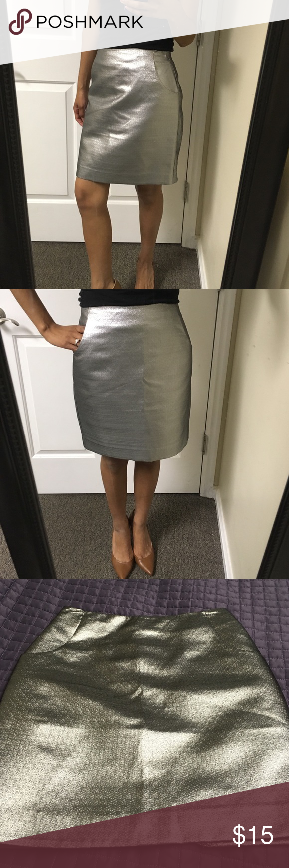 Coolest silver skirt from h&m! Great condition, very cool looking skirt :) H&M Skirts Midi