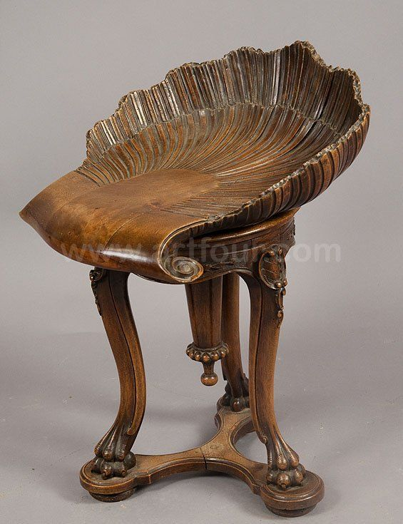 Wooden Carved Piano Stool Grotto Design Ca. Adjustable Seat In The Shape Of  A Sea Shell. Grotto Furniture Design Ca.