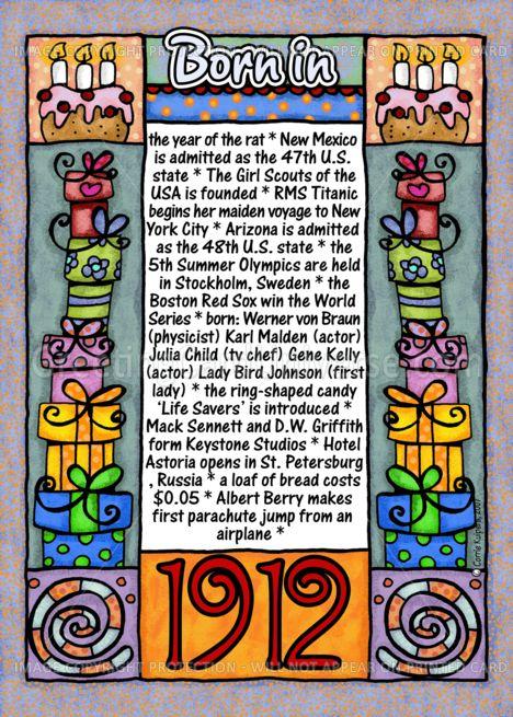 fun facts birthday  1912 card