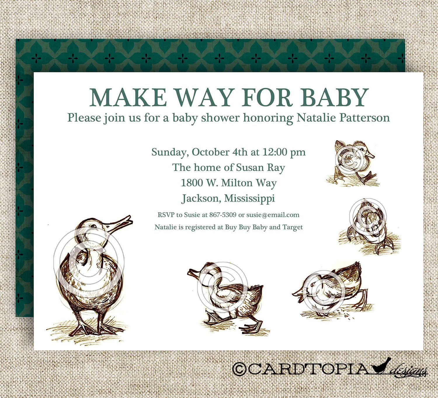 Make Way For Ducklings BABY SHOWER Invitations Bring A Book or ...