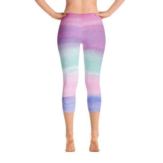0f902b260d47b2 Ombre Capri Leggings for Women, Workout Capris, Short Workout Pants,  Colorful Gym Pants, Pastel, Leg