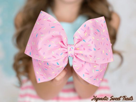 "Pastel pink hair bow on clip 6/"" Pin up Kawaii"
