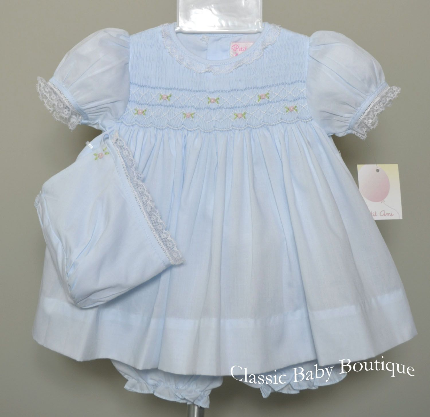 Petit Ami Blue Smocked Lace Dress Bonnet & Bloomers 3pc Newborn Baby