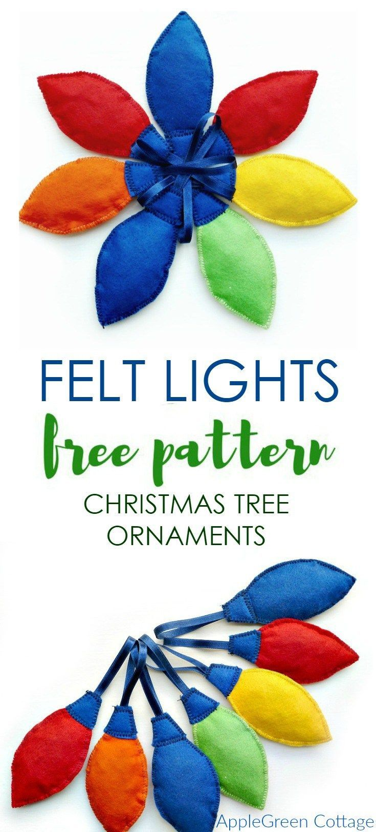 DIY Christmas Tree Ornaments - Felt Lights | Sewing and No Sew ...