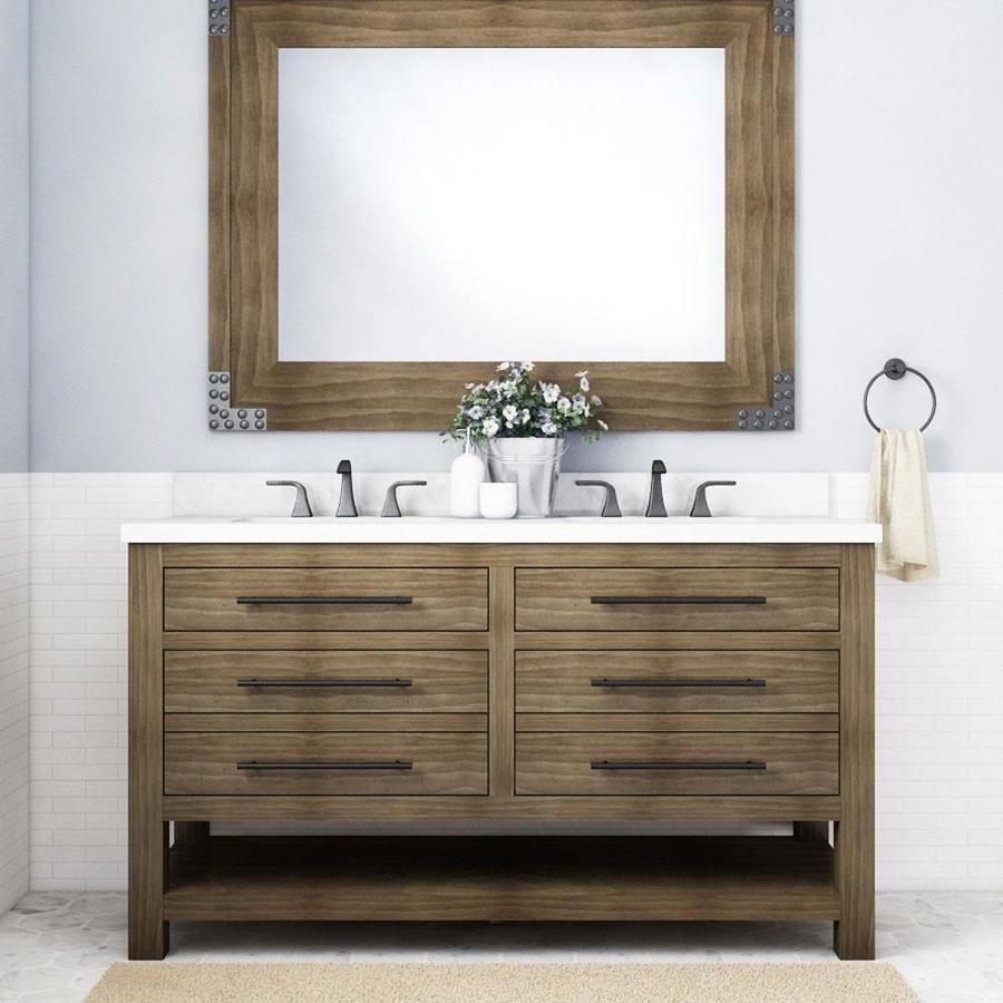 Allen Roth Kennilton 60 In Gray Oak Undermount Double Sink Bathroom Vanity With White Carrera Engineered Stone Top Lowes Com Oak Bathroom Vanity Double Sink Bathroom Vanity Bathroom Vanity