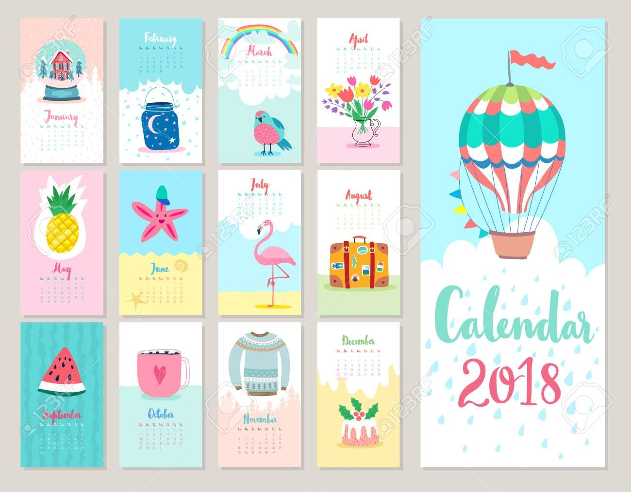 Calendar 2018. Cute monthly calendar with forest animals