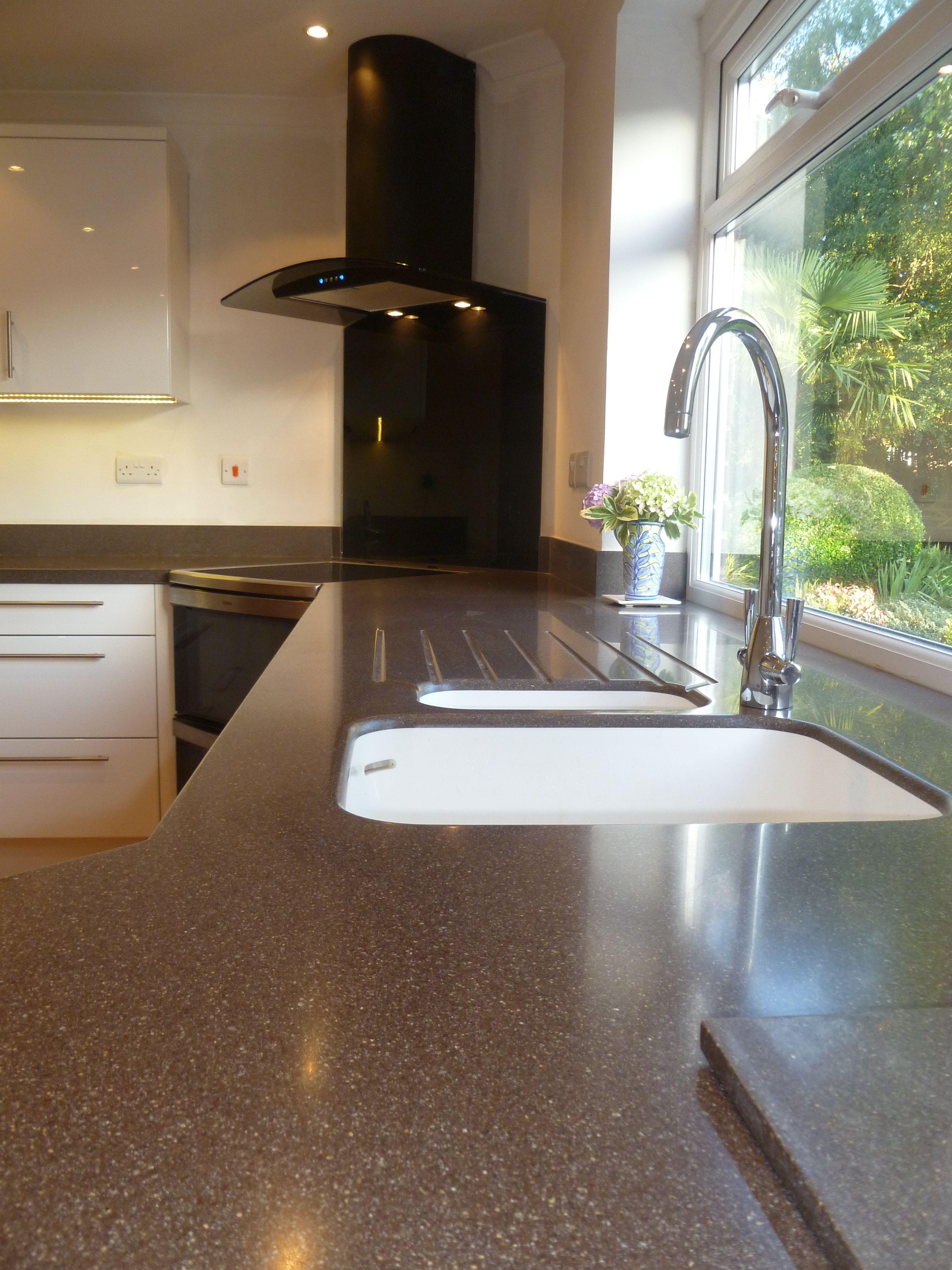 Chic Black Quartz Corian With Seamless Corian Sink Joints