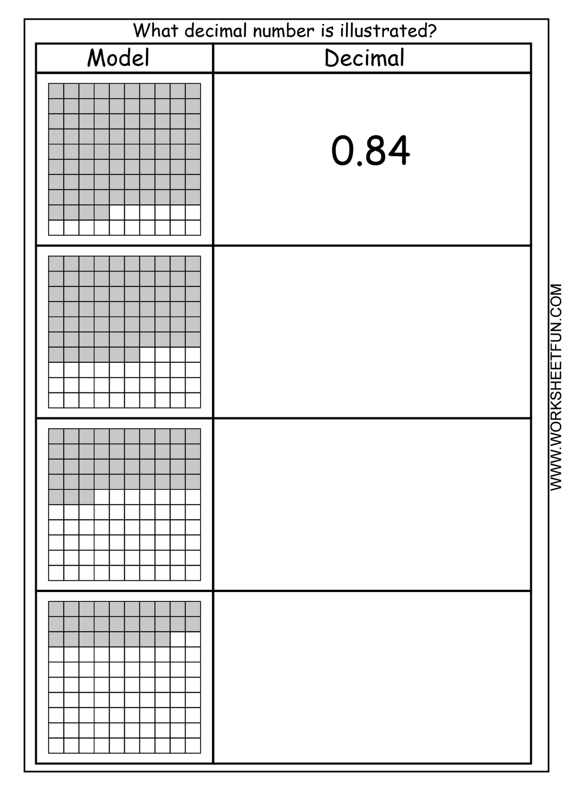 Fraction Decimal Number Worksheet