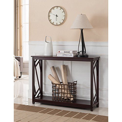 Dark Cherry Wood Contemporary Entryway Console Sofa Table With