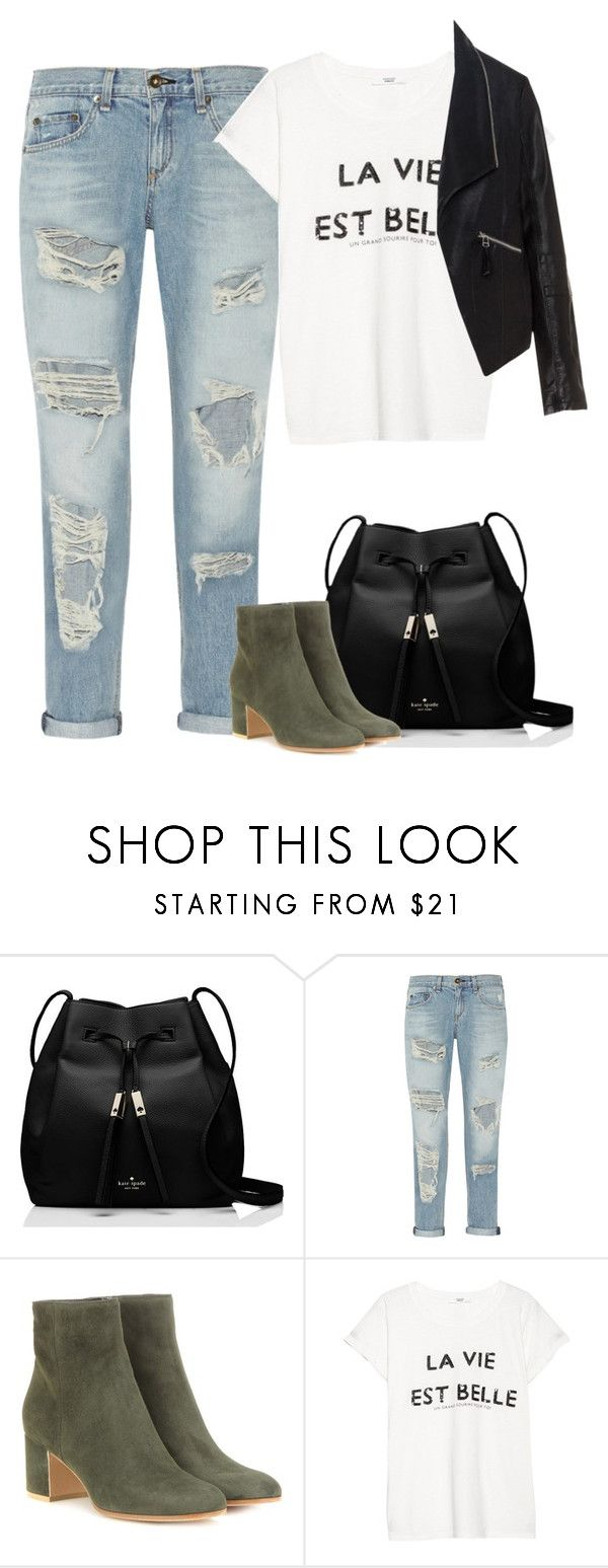 """""""Untitled #7139"""" by fanny483 ❤ liked on Polyvore featuring Kate Spade, rag & bone, Gianvito Rossi, MANGO and Zizzi"""